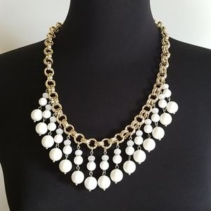 Ann Taylor Gold Tone White Bead Statement Necklace